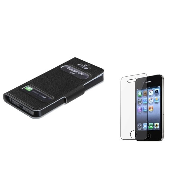 INSTEN Clear Screen Protector/ Wallet Phone Case Cover for Apple iPhone 5/ 5S