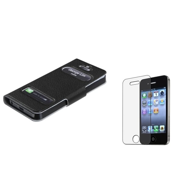 INSTEN Anti-glare Screen Protector/ Wallet Phone Case Cover for Apple iPhone 5/ 5S