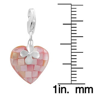 Fremada Rhodium Plated Sterling Silver Mother of Pearl Heart Charm (black, white, or pink)
