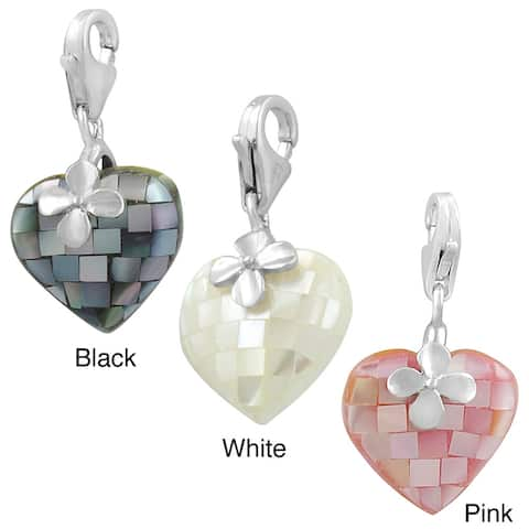 Rhodium Plated Sterling Silver Mother of Pearl Heart Charm