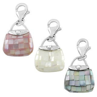 Fremada Rhodium Plated Sterling Silver Mother of Pearl Purse Charm (black, white, or pink) https://ak1.ostkcdn.com/images/products/8276961/8276961/Fremada-Rhodium-Plated-Sterling-Silver-Mother-of-Pearl-Purse-Charm-black-white-or-pink-P15598082.jpg?impolicy=medium