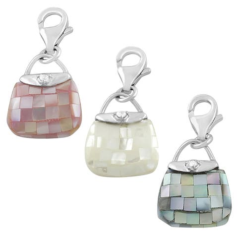 Rhodium Plated Sterling Silver Mother of Pearl Purse Charm
