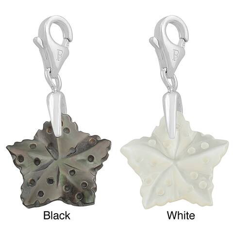 Rhodium Plated Sterling Silver Mother of Pearl Star Charm