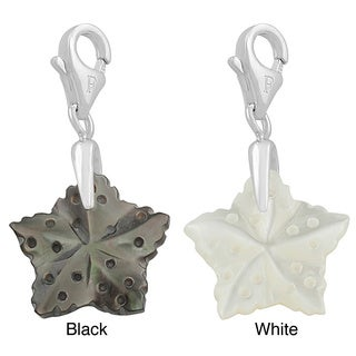 Fremada Rhodium Plated Sterling Silver Mother of Pearl Star Charm (black or white)