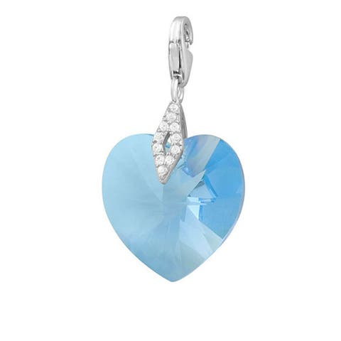 Rhodium Plated Sterling Silver Austrian Crystal Elements Heart Charm