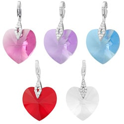 Fremada Rhodium Plated Sterling Silver Austrian Crystal Elements Heart Charm (clear, pink, lavander, blue,