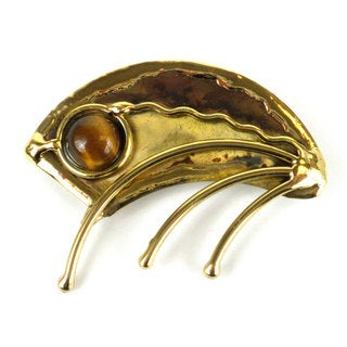 Handcrafted Umbrella Brass Brooch with Gold Tiger Eye (South Africa)