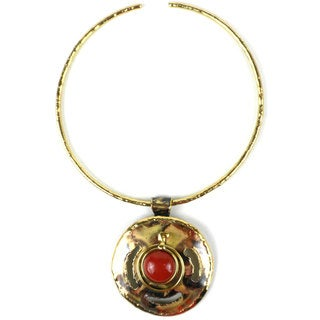 Handmade Earth's Core Red Jasper Brass Pendant Necklace (South Africa)