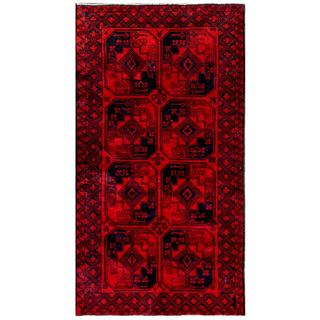 Herat Oriental Afghan Hand-knotted Tribal Balouchi Navy/ Red Wool Area Rug (3'6 x 6'6) (Afghanistan)
