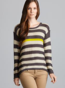 RD Style Long Sleeve Striped Hi-Lo knit Sweater