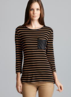 Romeo & Juliet Couture Back Zip Faux Leather Trim Stripe Top