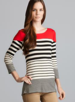 Romeo & Juliet Couture Solid Shoulder Striped Knit Top