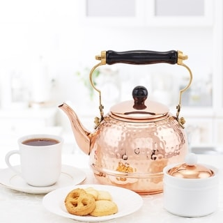 Copper Hammered 2-qt. Tea Kettle with Wood Handle