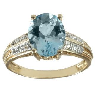 Michael Valitutti 14K Yellow Gold Oval-cut Aquamarine and Diamond Ring