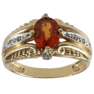 Michael Valitutti 14k Yellow Gold Spessartite Garnet and Diamond Anniversary Ring