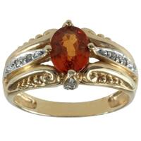 Michael Valitutti 14k Yellow Gold Spessartite Garnet and Diamond Anniversary Ring