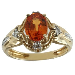 Michael Valitutti Highly Polished 14k Yellow Gold Spessartite Garnet and Diamond Ring