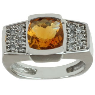 Michael Valitutti 14k White Gold Cushion-cut Citrine and Diamond Ring