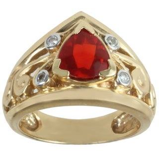 Michael Valitutti 14k Yellow Gold Trillion-cut Fire Opal and Diamond Ring