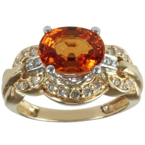 Michael Valitutti 14k Yellow Gold Spessartite Garnet and Round-cut Diamond Ring
