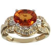 Michael Valitutti 14k Yellow Gold Spessartite Garnet and Round-cut Diamond Ring