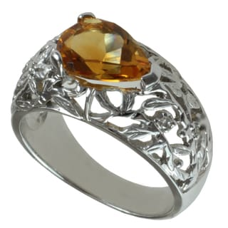 Michael Valitutti 14k White Gold Madeira Citrine and Diamond Ring