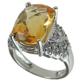 Michael Valitutti 14k White Gold Citrine and Diamond Ring