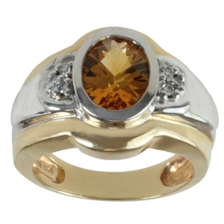 Michael Valitutti 14k Two-tone Gold Citrine and Diamond Ring