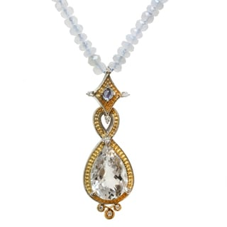 Michael Valitutti Two-tone Blue Chalcedony, Rock Crystal and Iolite Necklace