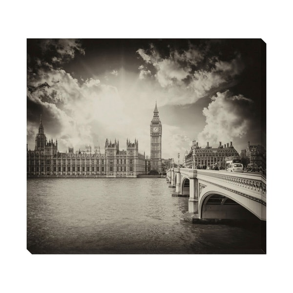Gallery Direct B&W London Oversized Gallery Wrapped Canvas