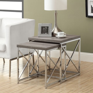 Dark Taupe Reclaimed Wood Chrome Nesting Tables (Set of 2)