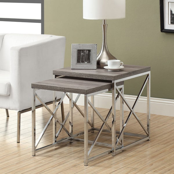 Dark Taupe Reclaimed Wood Chrome Nesting Tables Set Of 2