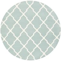 Safavieh Hand-woven Moroccan Reversible Dhurrie Light Blue Wool Rug - 6' Round