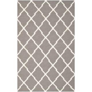 Safavieh Handwoven Moroccan Reversible Dhurrie Transitional Dark Grey Wool Rug (6' x 9')