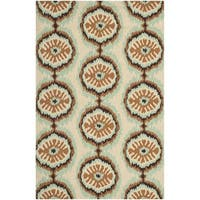 Safavieh Hand-Hooked Four Seasons Beige/ Green Polyester Rug - 5' x 8'