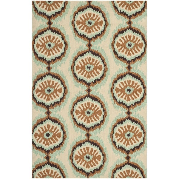 Safavieh Hand-Hooked Four Seasons Beige/ Green Polyester Rug (5' x 8')