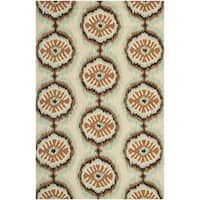 Safavieh Hand-Hooked Four Seasons Beige/ Green Polyester Rug - 8' x 10'