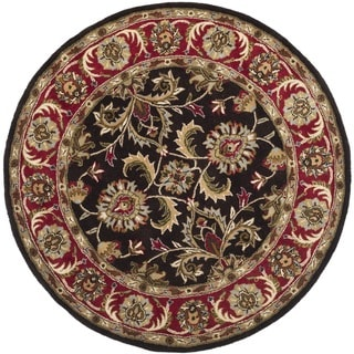 Safavieh Handmade Heritage Timeless Traditional Chocolate Brown/ Red Wool Rug (6' Round)