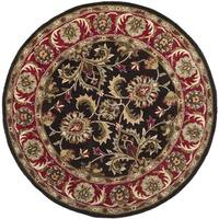 Safavieh Handmade Heritage Timeless Traditional Chocolate Brown/ Red Wool Rug - 8' x 8' Round