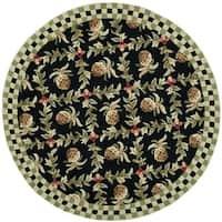 Safavieh Hand-hooked Chelsea Black/ Ivory Wool Rug (3' x 3' Round) - 3' x 3'