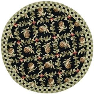 Safavieh Hand-hooked Chelsea Black/ Ivory Wool Rug - 3' x 3'