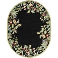 "Safavieh Hand-made Chelsea Black/ Green Wool Rug - 7'6"" x 9'6"" oval"