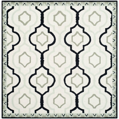 Safavieh Hand-made Chelsea Ivory/ Black Wool Rug - 6' x 6' Square