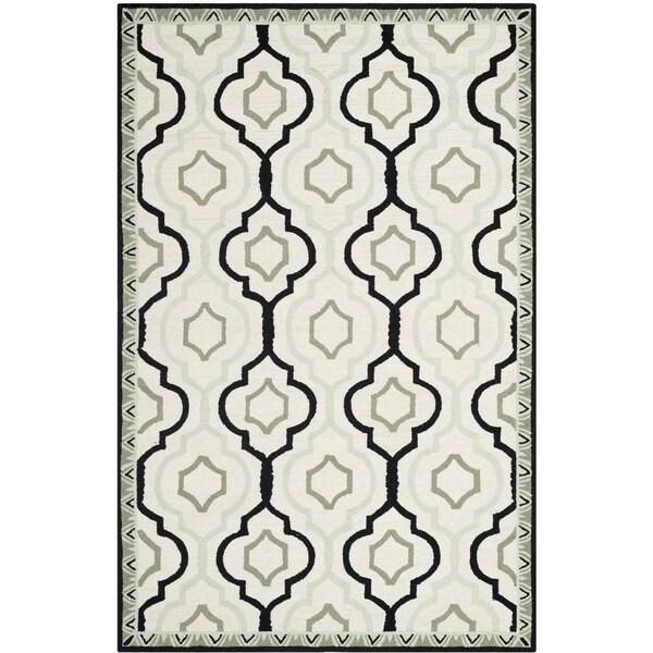 Safavieh Hand-made Chelsea Ivory/ Black Wool Rug - 7'9 x 9'9