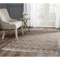 Safavieh Hand-woven Natural Kilim Brown/ Ivory Wool Rug - 7' Square