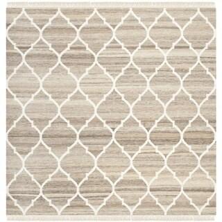 Safavieh Hand-woven Natural Kilim Light Grey/ Ivory Wool Rug (7' Square)