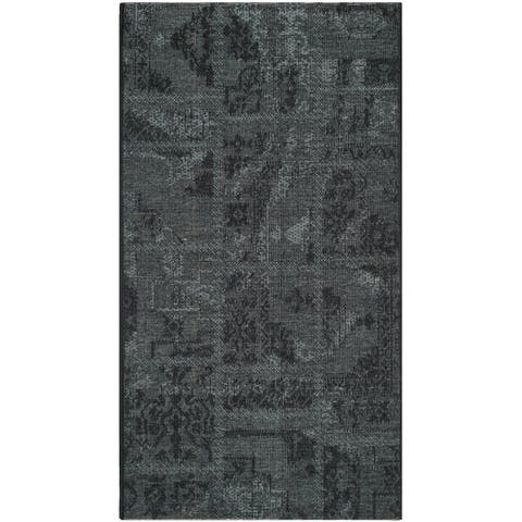 "Safavieh Palazzo Black/ Grey Chenille Area Rug - 2' x 3'6"""