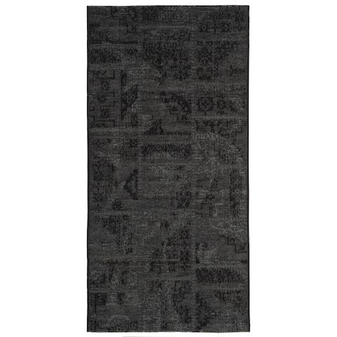 "Safavieh Palazzo Black/ Grey Chenille Area Rug - 2'6"" x 5'"