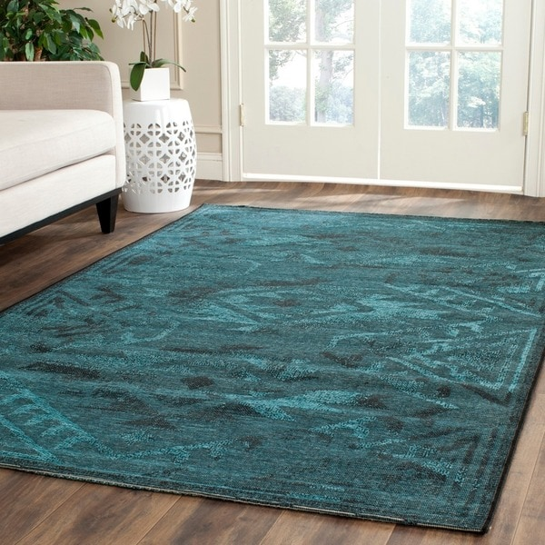 Safavieh Palazzo Black/ Turquoise Overdyed Chenille Area