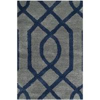 Safavieh Handmade Soho Grey/ Dark Blue Wool Rug - 2' x 3'